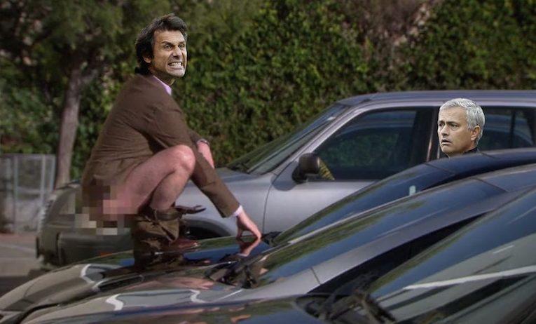 Conte defecating on Mourinho's car